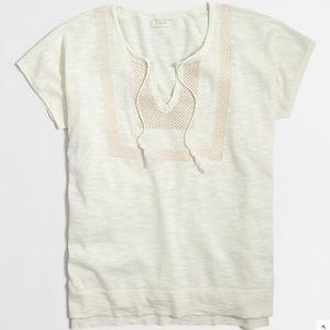 J CREW Embroidered tassel Slub Cotton Tee sweater